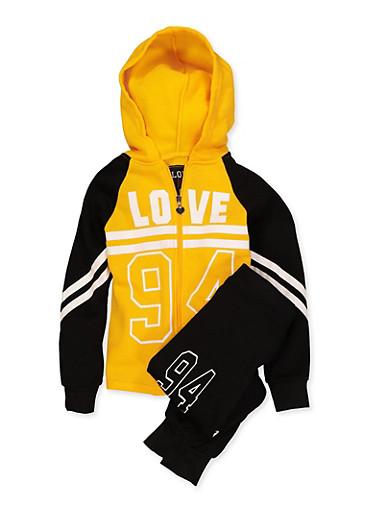 Girls 7-16 Love 84 Sweatshirt and Joggers,MUSTARD,large