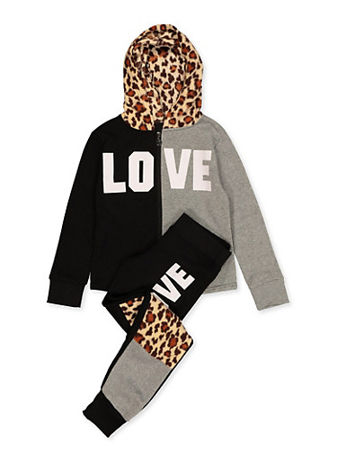 Girls 7-16 Leopard Color Block Sweatshirt and Joggers,BROWN,large