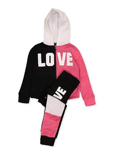 Girls 7-16 Love Zip Up Sweatshirt with Joggers,BLACK,large