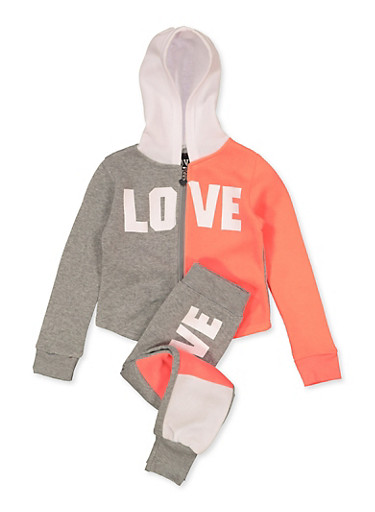 Girls 7-16 Color Block Love Sweatshirt and Joggers Set,CORAL,large