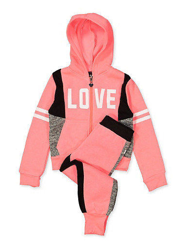 Girls 7-16 Love Color Block Zip Sweatshirt with Joggers,FUCHSIA,large