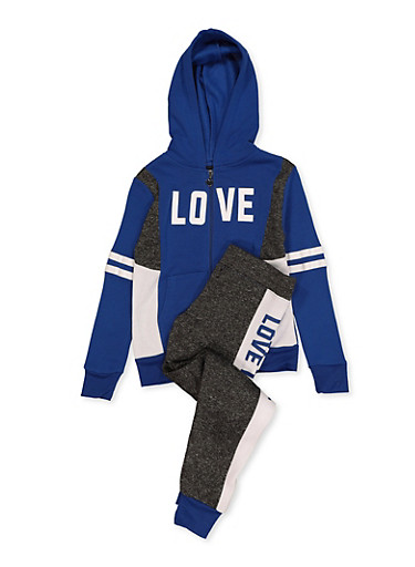 Girls 7-16 Love Graphic Sweatshirt and Joggers,RYL BLUE,large