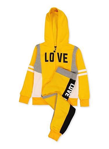 Girls 7-16 Zip Love Graphic Sweatshirt and Joggers,MUSTARD,large