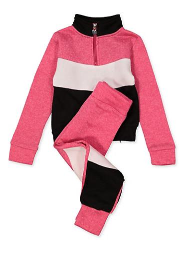 Girls 7-16 Color Block Half Zip Sweatshirt with Joggers,FUCHSIA,large