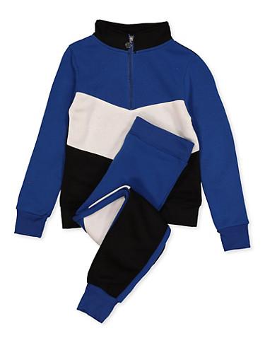 Girls 7-16 Color Block Sweatshirt and Joggers Set,RYL BLUE,large