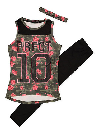 Girls 7-16 Graphic Tank Top with Leggings and Headband,BLACK,large