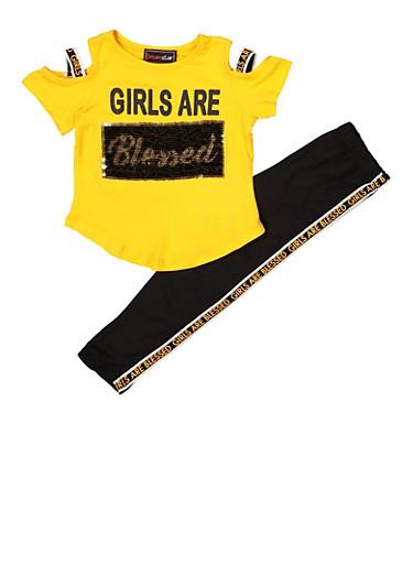 Girls 7-16 Glitter Sequin Cold Shoulder Top and Leggings,MUSTARD,large