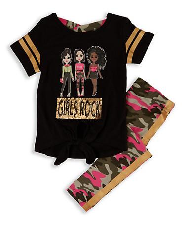 Girls 7-16 Girls Rock Graphic Tee and Camo Leggings,BLACK,large