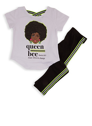 Girls 7-16 Queen Bee Sequin Top with Leggings,WHITE,large
