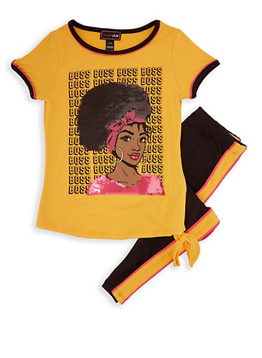 Girls 7-16 Boss Sequin Graphic Tee and Leggings,MUSTARD,large