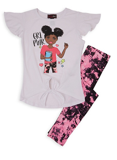 Girls 7-16 Grl Power Sequin Graphic Tee and Leggings,WHITE,large
