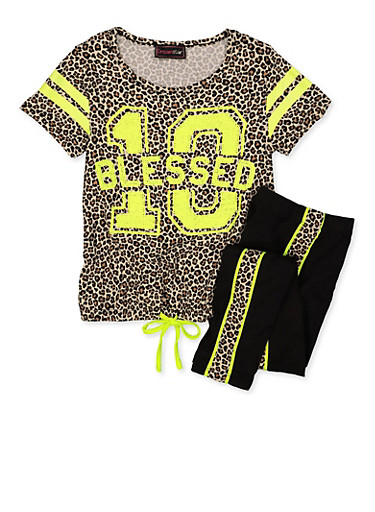 Girls 7-16 Sequin Leopard Top and Leggings Set,TAN,large