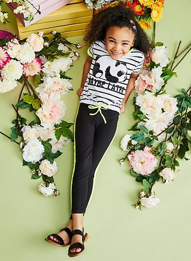 Girls 7-16 Sequin Panda Top with Leggings,WHITE,large