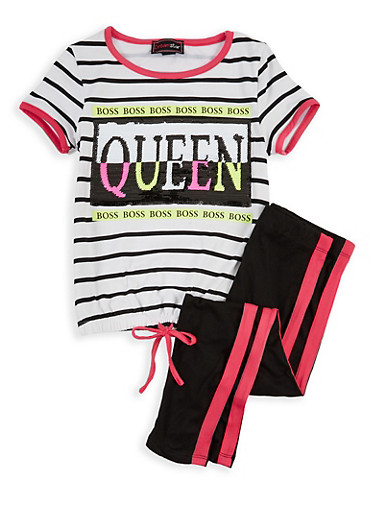 Girls 7-16 Sequin Queen Graphic Top with Leggings,WHITE,large