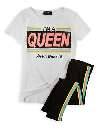 Girls 7-16 Im A Queen Sequin Top with Leggings,WHITE,large