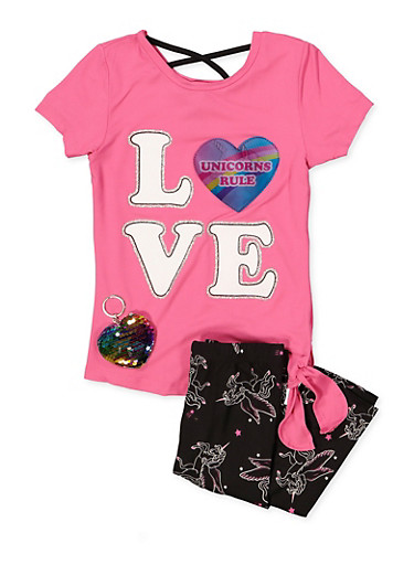 Girls Unicorn Holographic Patch Top and Leggings,MULTI COLOR,large