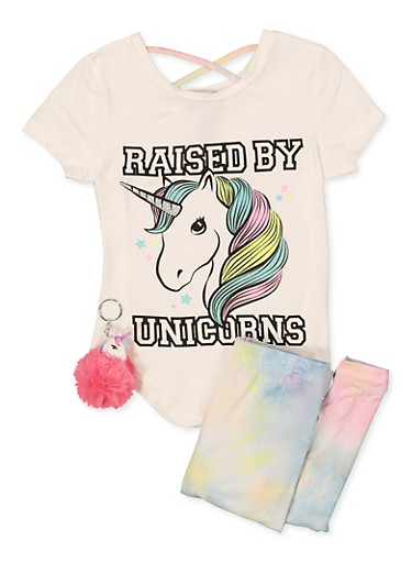 Girls Raised By Unicorns Graphic Top and Leggings,MULTI COLOR,large