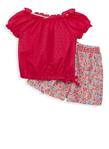 Girls 4-6x Swiss Dot Top with Floral Shorts,FUCHSIA,large