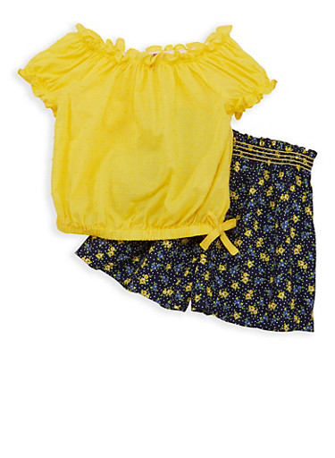 Girls 4-6x Swiss Dot Top with Printed Shorts,YELLOW,large