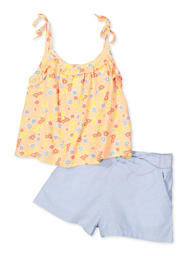 Girls 4-6x Floral Cami with Chambray Shorts,PEACH,large