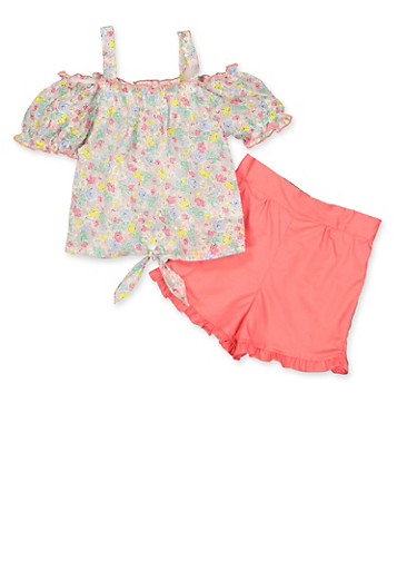 Girls 4-6x Floral Swiss Dot Top and Shorts Set,CORAL,large
