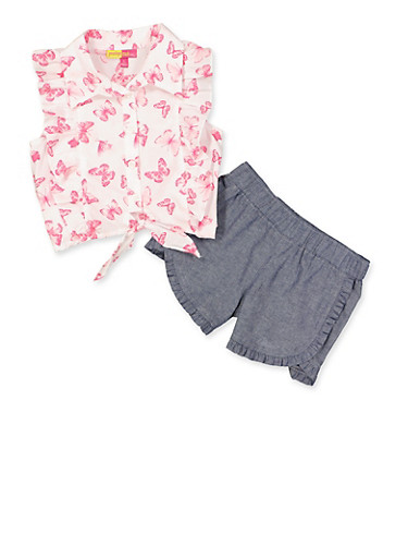 Girls 4-6x Butterfly Top and Chambray Shorts Set,IVORY,large