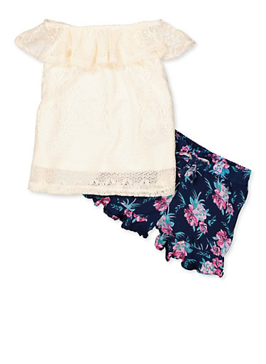 Girls 4-6x Lace Top with Ruffled Floral Shorts,IVORY,large