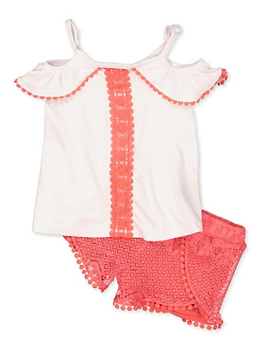 Girls 4-6x Crochet Detail Off the Shoulder Top and Shorts Set,WHITE,large