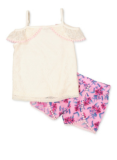 Girls 4-6x Lace Cold Shoulder Top and Floral Shorts,IVORY,large
