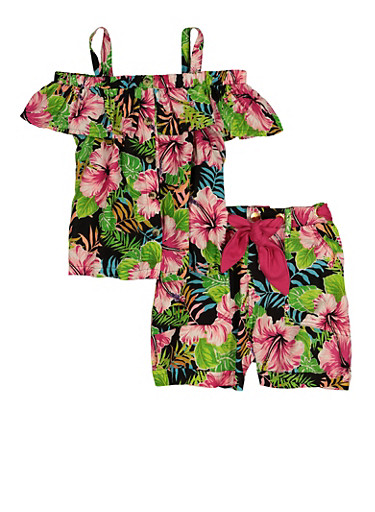 Little Girls Tropical Floral Print Top and Shorts Set,BLACK,large