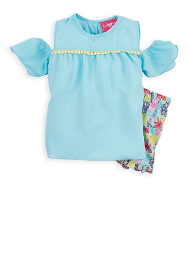 Girls 4-6x Ruffled Cold Shoulder Top with Floral Shorts,AQUA,large
