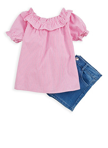 Girls 4-6x Striped Off the Shoulder Top with Denim Shorts,PINK,large
