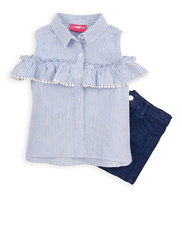 Girls 4-6x Striped Cold Shoulder Top and Denim Shorts | Tuggl