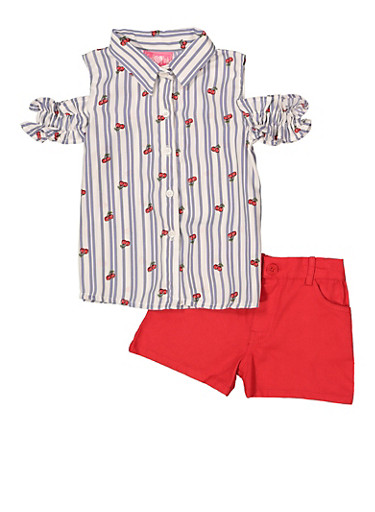 Girls 4-6x Cherry Print Top with Denim Shorts,RED,large