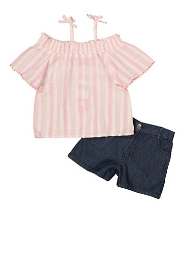 Girls 4-6x Striped Off the Shoulder Top with Twill Shorts,PINK,large
