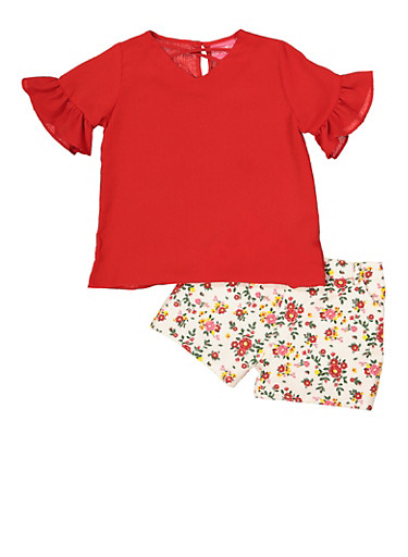 Girls 4-6x Bell Sleeve Top and Floral Shorts,RED,large