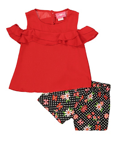 Girls 4-6x Ruffled Top and Floral Shorts,RED,large