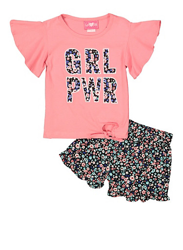 Girls 4-6x GRL PWR Tee with Floral Shorts,CORAL,large