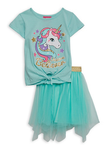 Girls 4-6x Unicorn Believer Tee and Tulle Skirt,TURQUOISE,large