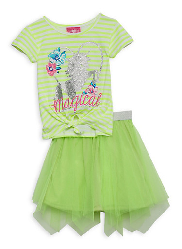 Girls 4-6x Unicorn Striped Top with Tulle Skirt,LIME,large