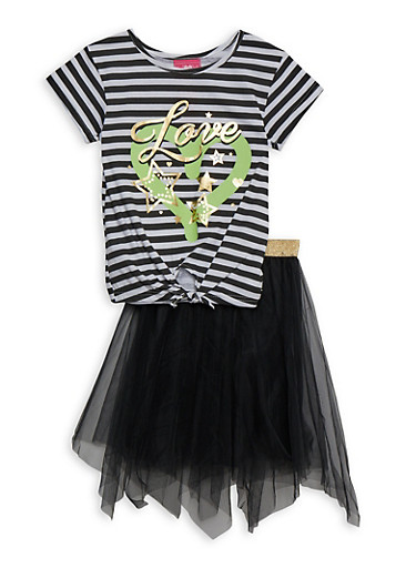 Girls 4-6x Striped Love Tee and Tulle Skirt,BLACK,large