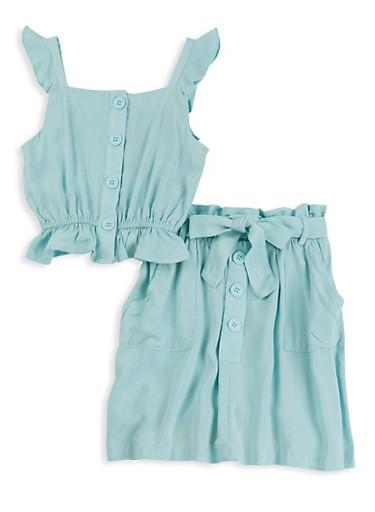 Little Girls Ruffled Sleeveless Top and Skirt Set,TURQUOISE,large