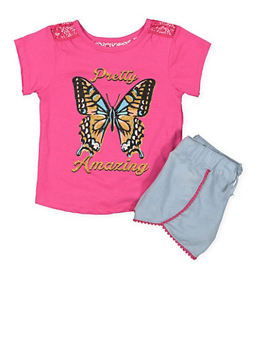 Girls 4-6x Glitter Graphic Top and Shorts Set,PINK,large