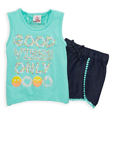 Girls 4-6x Graphic Top with Chambray Shorts Set,GREEN,large