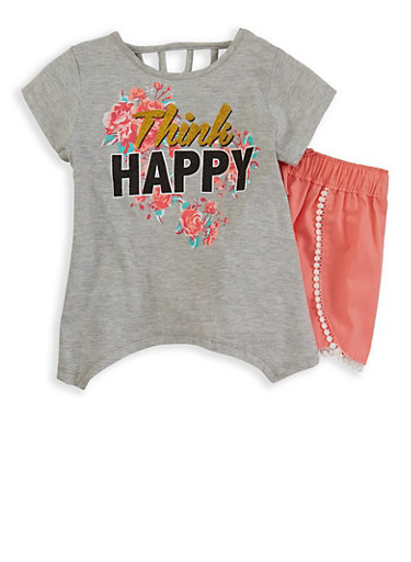 Girls 4-6x Graphic Tee with Shorts,HEATHER,large