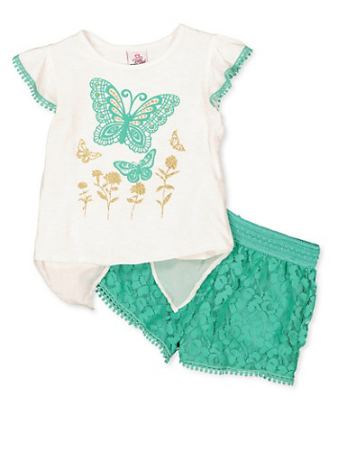 Girls 4-6x Butterfly Split Back Top and Lace Shorts,WHITE,large