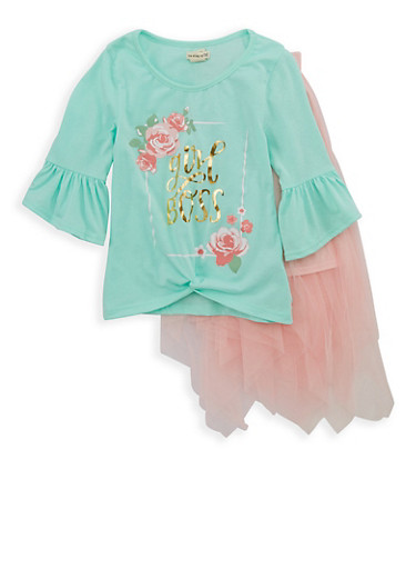 Girls 4-6x Foil Graphic Twist Front Shirt and Tulle Skirt,MINT,large