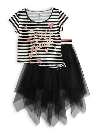 Girls 4-6x Girl Squad Asymmetrical Top with Tulle Skirt,BLACK,large