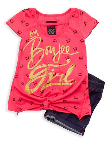 Girls 4-6x Knotted Graphic Top with Denim Shorts Set,FUCHSIA,large