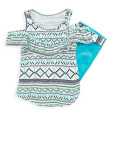 Girls 7-16 Printed Cold Shoulder Top with Bermuda Pants,TURQUOISE,large